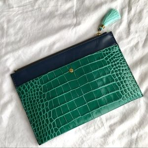 NWT! J. Crew Crocodile Embossed Leather Clutch